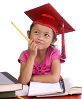 Young girl with grad cap and pencil