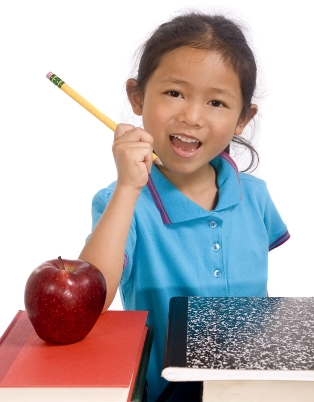 Girl with Pencil and Apple