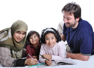 diverse family studying